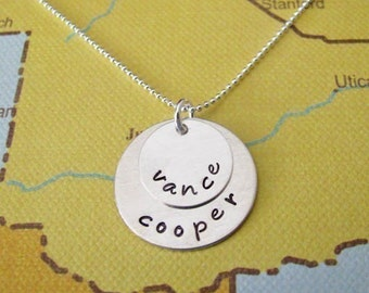 custom double layer name necklace