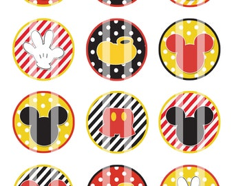Mickey Mouse Patterened 1 inch Circles 4x6 Digital Collage Sheet