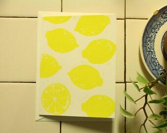 Lemon Block Printed Notecard