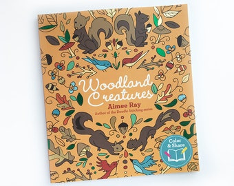 Woodland Creatures Adult and Kid Coloring Book, Woodland Animals, Meditative Coloring for Mommy and Me