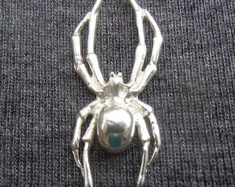 Solid Sterling Silver Spider Pendant
