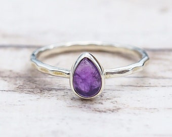 SALE! Natural Amethyst Gemstone Ring, Statement Ring, Solitaire Ring, Boho Ring, Purple Amethyst Ring, Sterling Silver Ring, Pear Ring bg112
