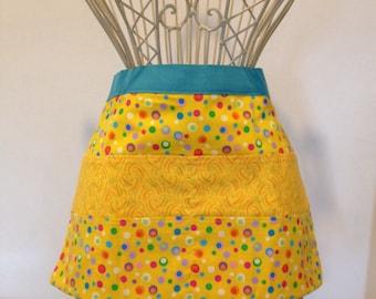 Waist Half Apron Vendor Teacher Nursery Daycare Yellow Circle Dots (8 Pockets)