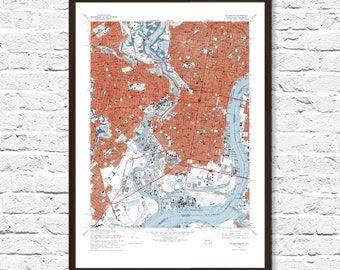 Philadelphia Art, Philly Art, Philly Map, Philadelphia Print, Vintage Map, Philadelphia