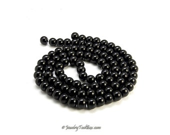 Black Pearls, Glass Bead Strands, Pearlized Round Glass, 36 inch Strand, Choose 4mm, 6mm, 8mm, 10mm, 12mm Hole 1mm