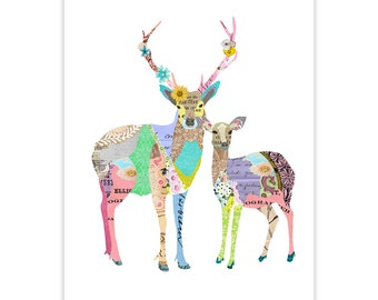 Colorful Deer Art Print - Collage Poster Print - Fine Art Collage Illustration Print