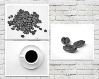 Coffee art prints, kitchen decor, food art, coffee bean wall art set of 3, kitchen pictures black and white, dining room art, kitchen photos