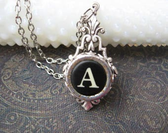 Typewriter Key Jewelry - Typewriter Necklace Letter A