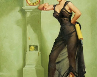 12x18 Elvgren YOU ARE LATE Retro Redhead Negligee Grandfather Clock Pinup Stockings pin-up Panties Vintage Dress Lingerie Fantasy Signed
