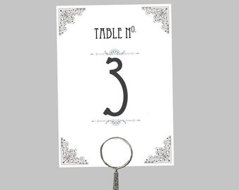 Printable Wedding Table Number Download 'Ornate' // DIY TEMPLATE // Word Mac or PC // 5 x 7 // Change artwork colour // Luxury Design
