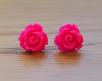 Little hot pink rose earrings, stud earrings, resin rose earrings, hypoallergenic surgical stainless steel posts