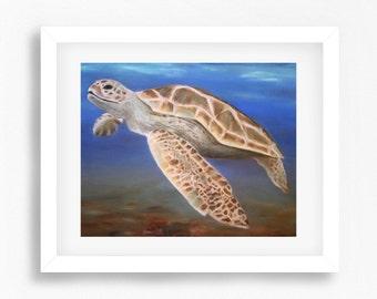 Sea Turtle Print, Lifelike Sea Turtle Drawing, Sea Turtle Wall Art, Sea Turtle Pastel Painting Print, Sea Turtle Art, Art Prints Online