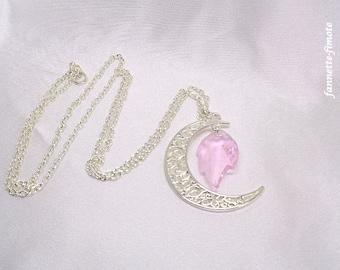 "Silver ""Leaf"" pink chain + Swarovski Crystal Necklace"