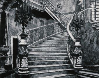 Penélope on the Stairs Charcoal Drawing Print