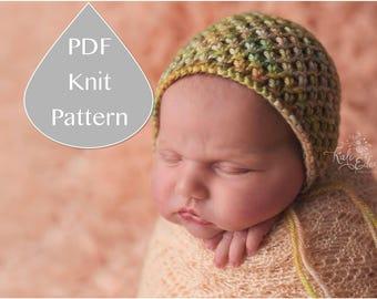 PDF Knit Pattern #0053 The Rylee Knit Bonnet, Newborn, Knit PDF Pattern,Tutorial,Knit Pattern,Easy,Video,Instruction,Newborn,Beginner