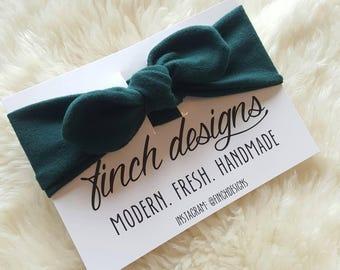 Knotted Headband, Adjustable Turban Headband, Hunter Green Headband, Stretchy Headband, Girls Headband