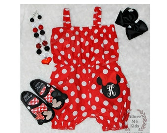 Boutique Girls / Baby Minnie Mouse Disney Red  Polka Dot Romper add name