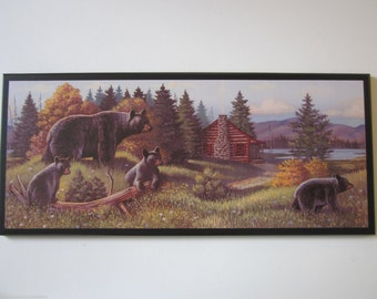 Bears and Log Cabin Wall Decor Plaque