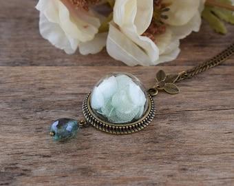 Light green hydrangea pendant, Mint hydrangea necklace, Botanical jewelry, Real flower jewelry, Real hydrangea jewelry, Floral jewelry T014