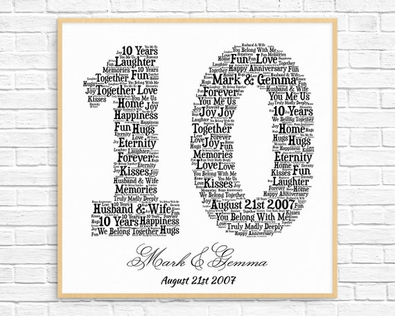 Personalized 10th anniversary gift word art printable art negle Images