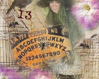 ZNE ATC ACEO - Witch Ouija - Digital Collage Art by ruby