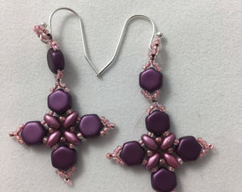 Purple and Pink Bead Weave Earrings