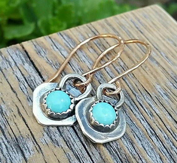 Turquoise Dangle Earrings, Sterling Silver And Gold Mixed Metal, Rustic Cowgirl Southwest Boho style Jewelry