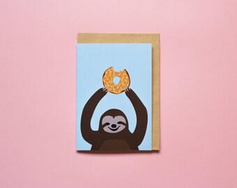 Doughnut Sloth (blue) - Greeting Card