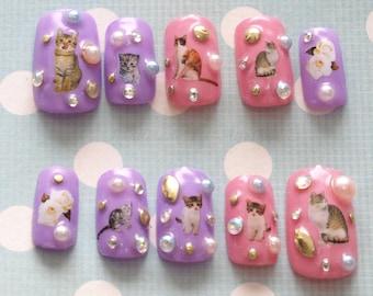 Fairy kei, pastel nails, cat nail, 3D nail, cats, nail decal, Japanese nail, Harajuku, kawaii nail, gel nail, deco nail, sweet lolita,