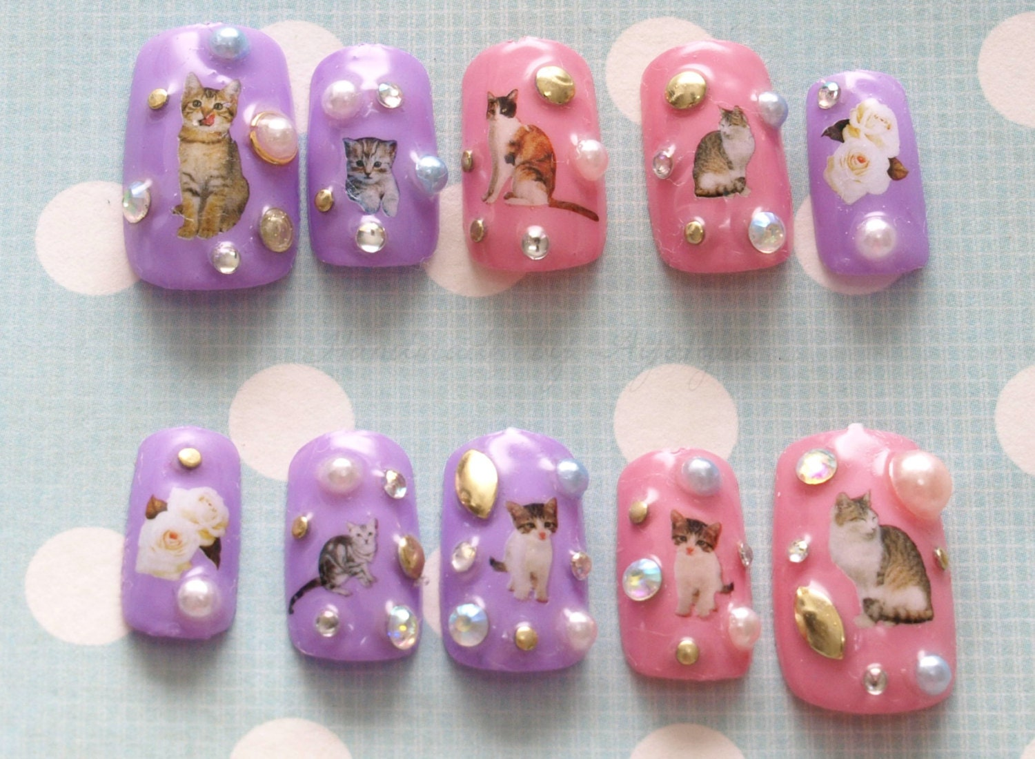 Fairy kei pastel nails cat nail 3D nail cats nail decal