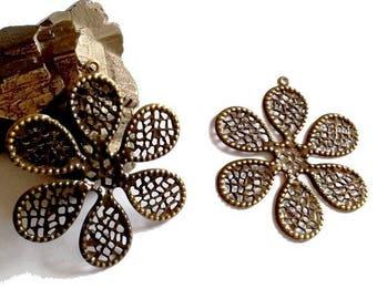 5 beautiful prints 65.5 mm (very thin metal) filigree flower bronze