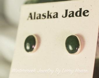 Handmade Alaska Jade 8x10mm Oval Stud Earrings