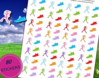 80 SMALL Runner Walker Shoe Fitness Workout Planner Stickers for Erin Condren Life Planner (ECLP) Reminder Sticker LDD1034