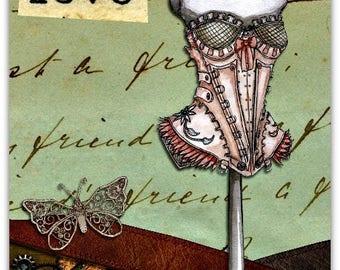 Double 'Love' original design handmade card - 15cm x 21cm