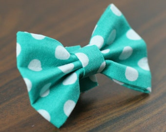 Ready To Ship Dog Bow Tie - Teal Polka Dots collar only