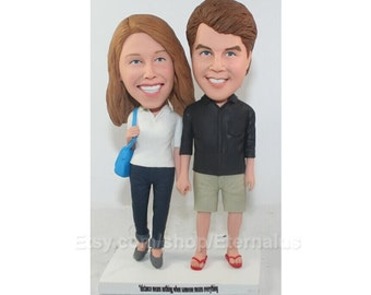 Personalized Travel Theme Wedding Cake Topper , Custom Handmade Wedding Cake Topper . dad and mom  wedding cake topper