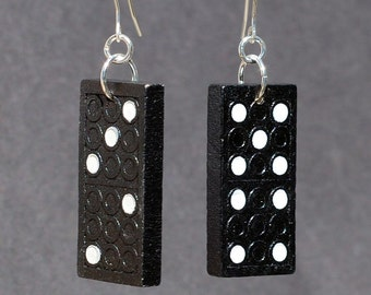 Domino Jewelry- Upcycled Wooden Domino Earrings, Found Object Jewelry, Black & White Game Piece Jewelry by Tanith Rohe