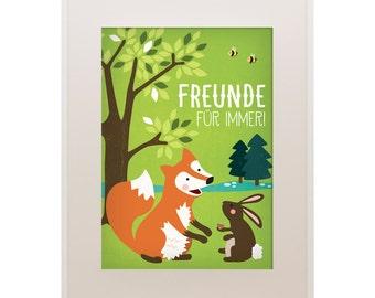 "Poster Fox and Rabbit, 11""x16"", Best Friends, Art Print, Animal Art Print, Illustration, Vector Art, Children's Room"