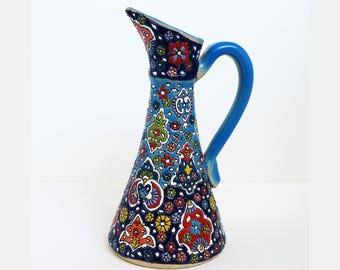 Ceramic Pitcher, Handmade Pottery Pitcher, Home Decor, Decorative Pitcher, Pottery, handmade Decor, Pottery Handmade, glazed outside