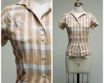 Vintage 1950s Shirt • Ranch Maid • Tan Plaid Western 50s Shirt Size XSmall