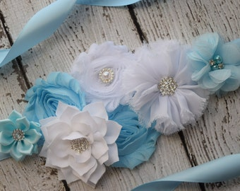 Flower Sash, light blue , white   Sash  , flower Belt, maternity sash