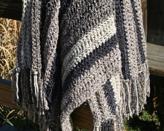 Neutral Afghan Brown Gray Greys Mushroom Charcoal Acrylic Yarn Vegan Friendly Oversize Neutral Accent Throw Multiple Yarns Textures
