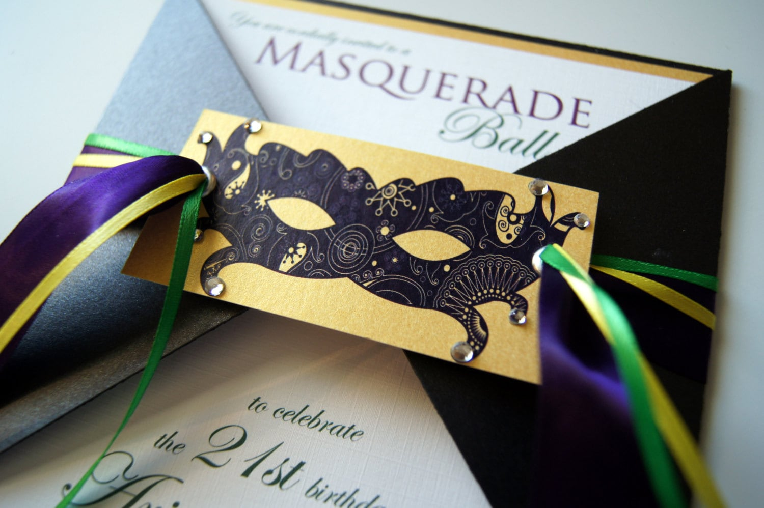 Ariannes Masquerade Ball Custom Invitation Suite QTY 50