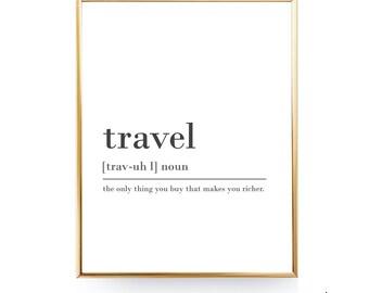 Travel Digital Download Print INSTANT DOWNLOAD Definition Print Modern Home Decor Travel Definition Posters Digital Typography Art