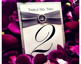 Wedding table numbers , Silver Wedding Table number with rhinestone buckle, luxury wedding table number