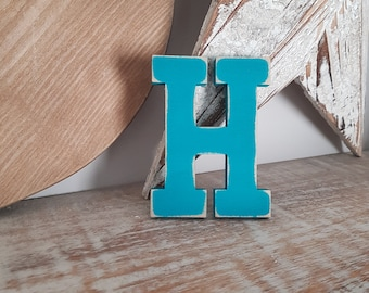 Wooden Letter H - painted and distressed - letter art, interior decor, 10cm
