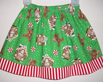Christmas Skirt with Gingerbread Skirt with Peppermint Candy Canes Green and Red Holiday Skirt toddler skirt Girls Skirts