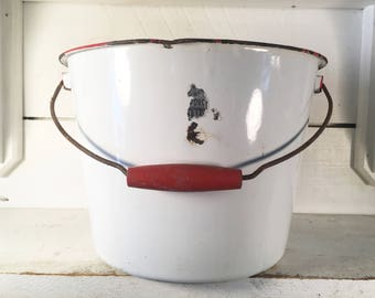 Very Large Rustic White and Red Trimmed Enamelware Bucket/Farmhouse Kitchen Large Rustic Enamelware Pail with Wooden Handle/Very Large Pail