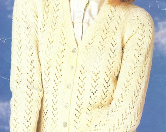 knitting pattern, pdf, ladies, women's lace knit cardigan, sizes 32-42 inch, double knitting, digital download, instant download