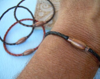Thin Braided Leather Bracelet with Copper toned Brass Magnetic Clasp, Mens Jewelry, Mens Bracelet, Leather Bracelet, Boyfriends Gift, Mens
